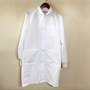 Landau Pinstriped Long White Lab Coat Extra Small